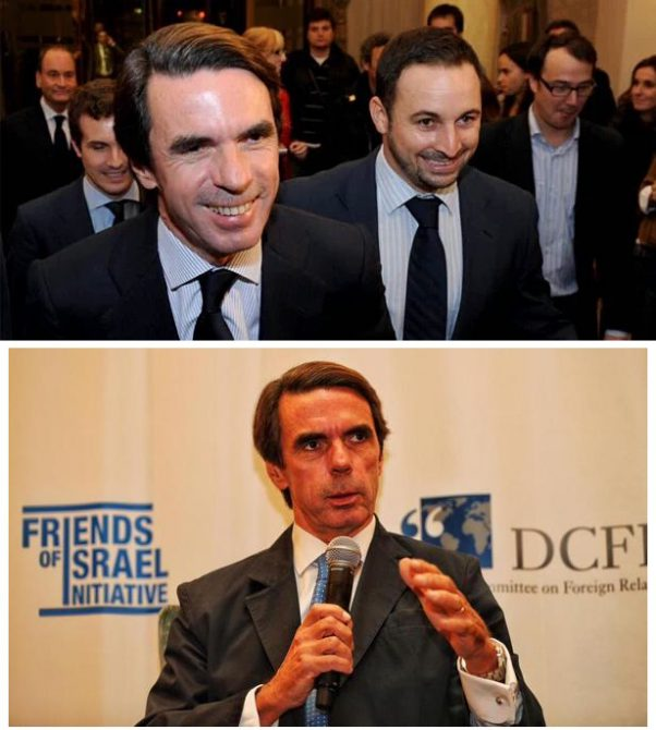 Aznar con su pupilo Abascal. Debajo, Aznar hablando para el lobby pro-israelí de Bardají
