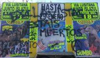 Uno de los carteles del circo, con in sultos y amenazas de muerte.