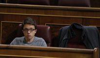 El número dos de Podemos, Íñigo Errejón, en su escaño en el Congreso