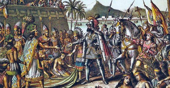 Grabado de Hernán Cortés entrando en Tenochtitlán.