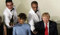 Melania y Donald Trump, durante el almuerzo en el Capitolio