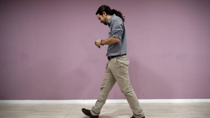 Pablo Iglesias en la sede de Podemos.