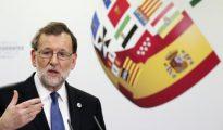 Mariano Rajoy durante la rueda de prensa ofrecida al término de la VI Conferencia de Presidentes Autonómicos celebrada hoy en el Senado.