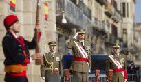 Un momento de la celebración de la Pascua Militar en Barcelona, hoy en Barcelona