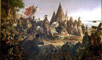Descubrimiento de Misisipi, por William H. Power, 1847. Hernando de Soto viendo por primera vez el río Misisipi
