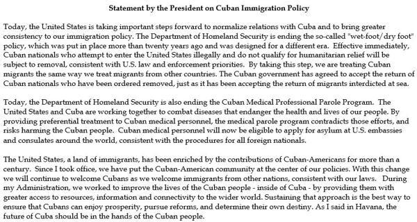 El comunicado de Barack Obama que difundió la Casa Blanca