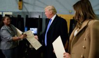 Donald Trump durante la jornada de votación, en noviembre