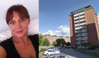 Camilla Johansson y la vivienda que ha estado ocupando con su hija durante años.