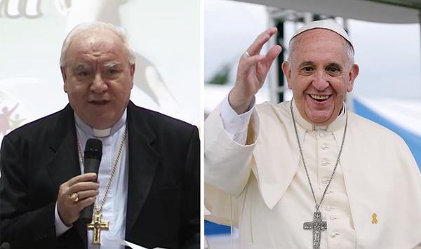 Monseñor Carlo Liberati, arzobispo emérito de Pompeya (izquierda), forma parte de un sector creciente de líderes católicos que se niegan a que la Europa del futuro pertenezca al islam y que hablan en abierta oposición del papa Francisco (derecha).