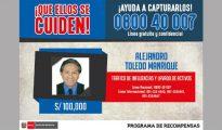 Cartel del Ministerio del Interior de Perú en la que se ofrece la recompensa por el paradero de Alejandro Toledo