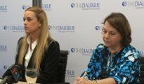 Lilian Tintori (izquierda) y Mitzy de Ledezma, hoy, en la conferencia de prensa que han ofrecido en Washington.