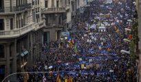 Imagen de la manifestación en Barcelona en favor de los refugiados