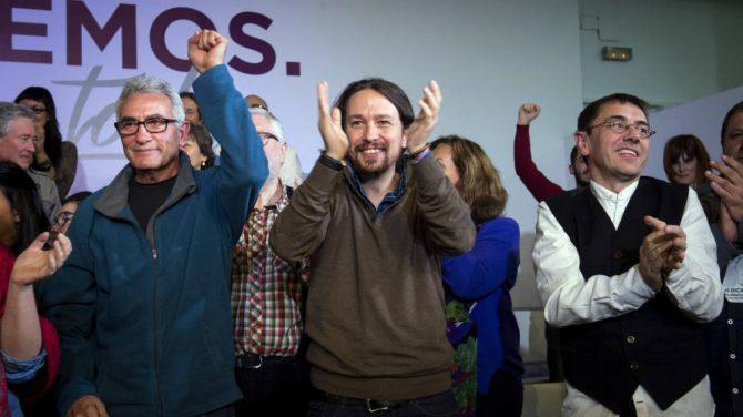 Cañamero, Iglesias y Monedero, aliados del régimen bolivariano de Venezuela y representantes del ala más radical de Podemos.