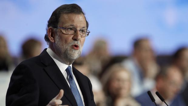 El presidente del PP, Mariano Rajoy, en el congreos nacional del partido