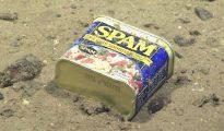Una caja de Spam encontrada a 4947 metros de profundidad en las fosas de las Marianas (Noaa Office of Ocean Exploration)