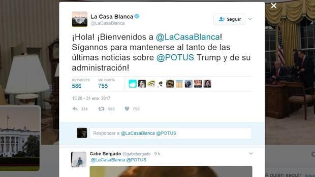 Primer mensaje de la cuenta de Twitter de la Casa Blanca