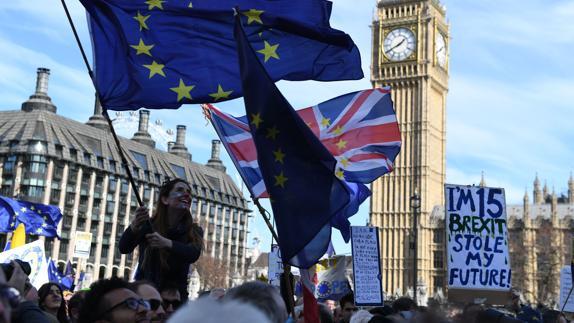 Manifestantes en Londres contra el 'Brexit'.