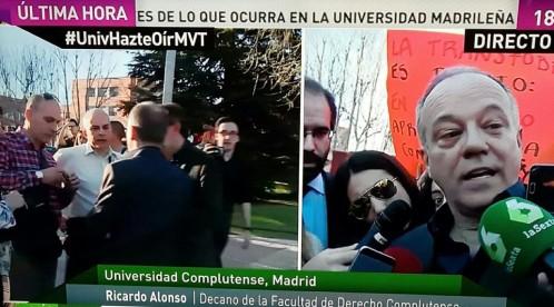El decano junto al hombre que le ha agredido  Leer más:  Agreden al decano de Derecho de la Complutense en una protesta contra Hazte Oír