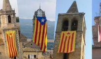 En numerosos edificios católicos catalanes cuelgan esteladas separatistas.