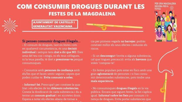 Imagen del folleto distribuido en Castellón