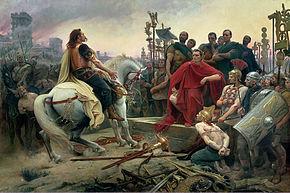 Vercingétorix rindiéndose a César en Alesia, guerra de las Galias por Lionel-Noel Royer
