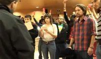 Pablo Iglesias, durante el escrache a Rosa Díez