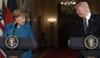 Angela Merkel y Donald Trump, en su rueda de prensa tras reunirse este viernes en la Casa Blanca