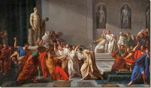 Asesinato de César ante la estatua de Pompeyo.