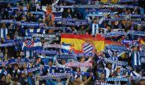 Aficionados del Espanyol en el choque ante el Barcelona