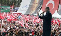 Tayyip Erdogan durante un mitin