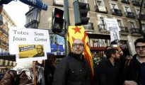 Salida de la Audiencia Nacional de el concejal de la CUP, Joan Coma, el pasado mes de diciembre