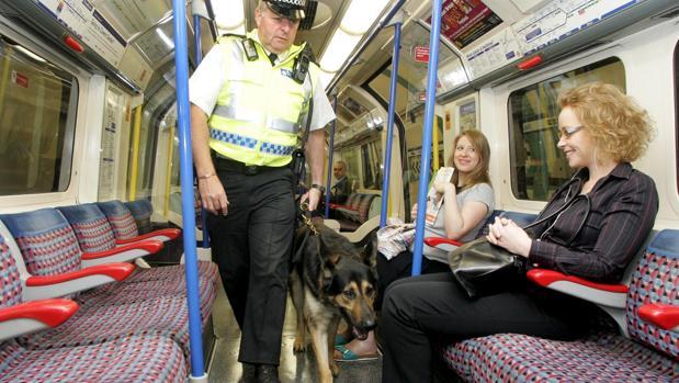 Un oficial de policía de transporte británico y su perro patrulla supervisan un vagón del metro de Londres tras su reapertura en agosto de 2005, días después del atentado de Al Qaida en la capital inglesa