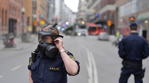 Imagen tras el atentado islamista de hoy en Estocolmo.