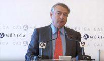El presidente de RTVE, José Antonio Sánchez, durante su discurso en la Casa de América