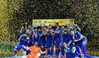 Los jugadores de Movistar Inter celebran la victoria