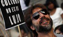 El actor, Javier Bardem, en una manifestación contra la subida del IVA en la industria cinematográfica
