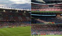 El Vicente Calderón, izquierda, respecto a Wembley (arriba), Olímpico de Berlín (medio), y Saint-Denis (abajo)