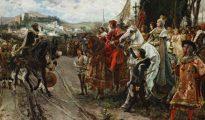 Boabdil entrega las llaves de la ciudad a los Reyes Católicos.