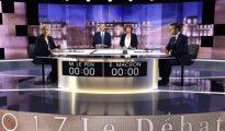 Marine Le Pen y Emmanuel Macron en un debate televisado.