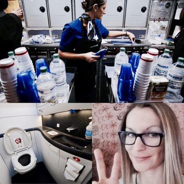 Nicole Harper tuvo que utilizar dos copas plásticas para orinar frente a su marido y otros pasajeros, luego de que una auxiliar de vuelo decidiera que no podía levantarse para ir al lavatorio