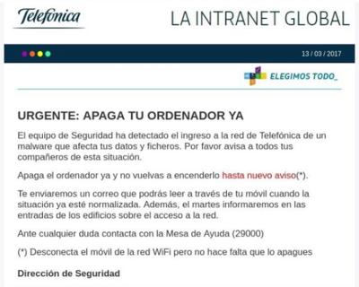 Email de Telefónica a sus empleados por otro ciberataque el pasado 13 de marzo.