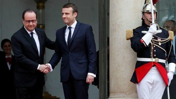 Hollande recibió a Macron en Palacio del Elíseo