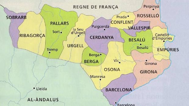 Mapa recogido en un libro escolar catalán, con un mapa que incluye como catalanes dos condados de Aragón