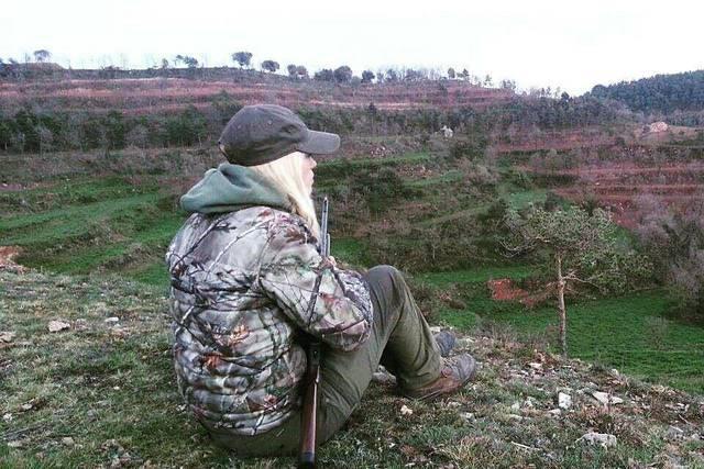 Mel, durante una jornada de caza.