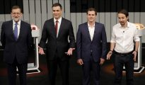 De izquierda a derecha, Mariano Rajoy, Pedro Sánchez, Albert Rivera y Pablo Iglesias, líderes del PP, PSOE, Ciudadanos y Podemos.