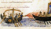 Uso del fuego griego, según una ilustración de una crónica bizantina.
