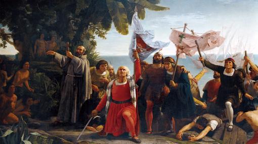 La llegada de los españoles al Caribe en 1492- Pintura de Dióscoro Puebla