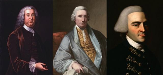 Peyton Randolph, Henry Middleton y John Hancock los tres primeros Presidentes del Congreso Continental
