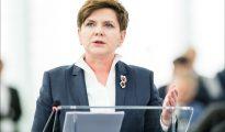 """En un discurso del 24 de marzo, la primera ministra polaca, Beata Szyd?o, dijo que su país no sería sometido a chantaje por los funcionarios de la UE: """"No vamos a participar en la locura de la elite bruselense... Esto es un ataque a Europa, a nuestra cultura, nuestras tradiciones"""". (Foto: Parlamento Europeo//Flickr)"""