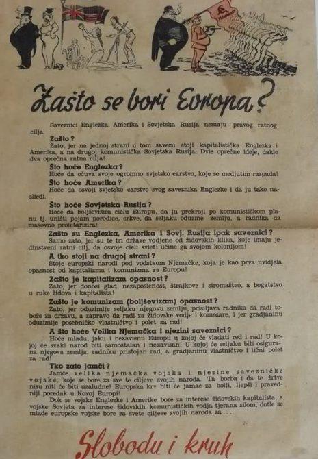 [Propaganda nazi en Croacia al comienzo de 1941. El cartel decía: